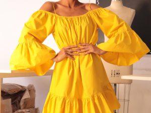 Vestido Amarelo Curto Victor Dzenk