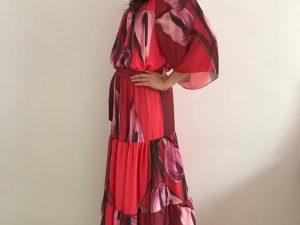 Vestido Longo Raglan Crepe Antúrio Vermelho
