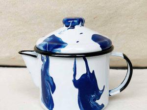 Bule de Chá Marmorizado Azul