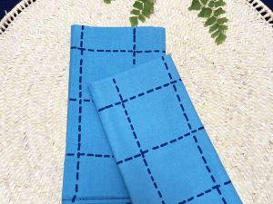 Guardanapo Pesponto Azul Claro com Listra Marinho
