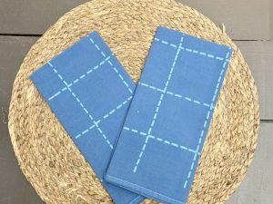 Guardanapo Pesponto Azul Médio com Listra Azul Claro