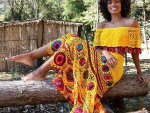 Conjunto Amarelo de Crochet Algodão Liana Leão Design