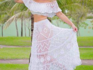 Cropped de Crochet Algodão Liana Leão Design
