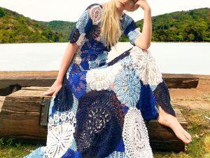 Vestido Azul de Crochet Algodão Liana Leão Design 010