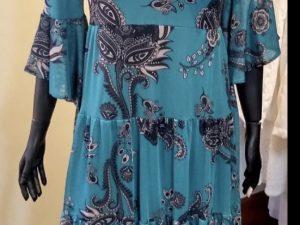 Vestido Lola Azul com Estampa Cashmere