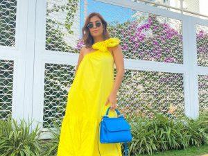 Vestido Alicia Ombro Único Laço em Amarelo