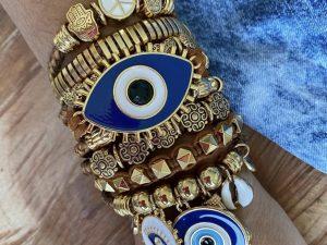 Bracelete Múltiplo Olho Grego Azul
