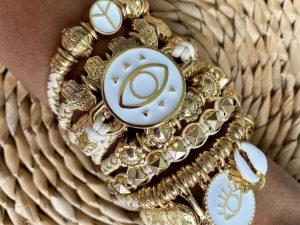 Bracelete Múltiplo Olho Grego Branco