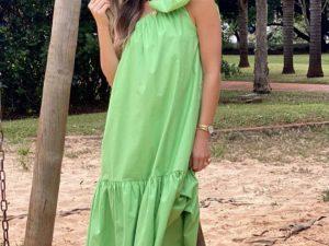 Vestido Alicia Ombro Único Laço em Verde