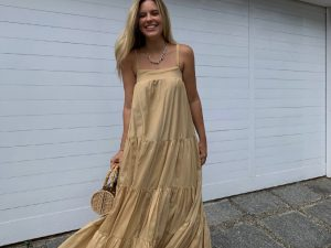 Vestido Athena Chiffon de Seda em Dourado