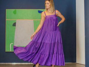 Vestido Athena Chiffon de Seda em Roxo