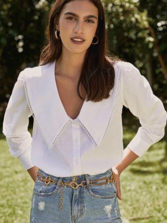 Camisa Gola de Bico Branca