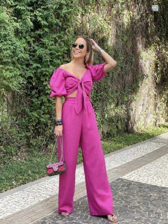 Calça Pantalona de Linho Sarah Pink