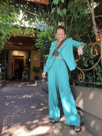 Calça Pantalona de Linho Larissa Verde