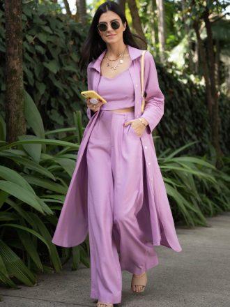 Vestido Chemise de Linho Lavanda
