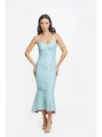 Vestido de Couro Monica Longo Azul Celeste