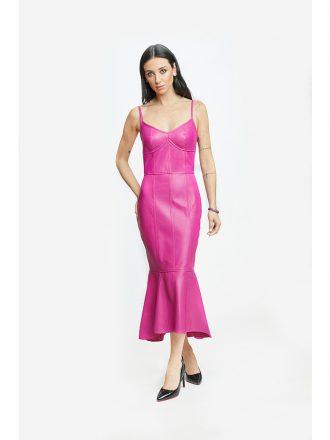 Vestido de Couro Monica Longo Fúcsia